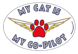 My Cat Is My Co-Pilot oval magnet - NEW!