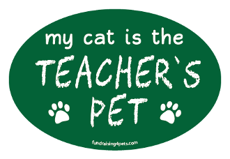 My Cat is the Teacher's Pet oval magnet - green *NEW*