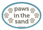 Paws in the Sand oval magnet - NEW!