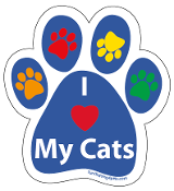 I Love My Cats paw magnet - blue/multi *NEW*