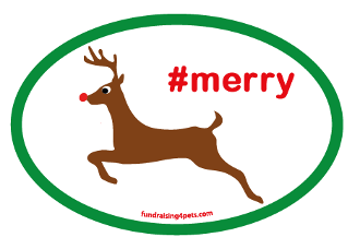 Reindeer Merry #merry Oval Magnet - NEW!