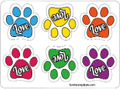Love Mini Paw Magnets 6pk - multicolor *NEW*