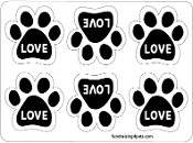 Love Mini Paw Magnets 6pk - black *NEW*