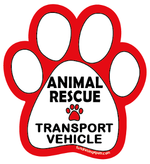 Animal Rescue Transport Vehicle paw magnet - white/red *NEW*