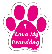 I Love My Granddog Paw Print Magnet - hot pink *NEW*