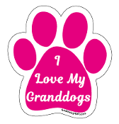 I Love My Granddogs Paw Print Magnet - hot pink *NEW*
