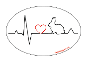 Heartbeat oval magnet - Rabbit *NEW*