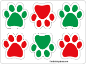 Mini Paw Magnets 6pk - Red & Green *NEW*