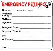 EMERGENCY PET INFO Magnet *NEW*