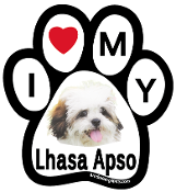 I Love My Lhasa Apso Paw Print Magnet - NEW!