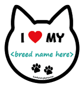 """I ♥ My"" Breed Cat Head Magnet - 38 breeds & counting! **NEW**"