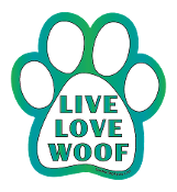 Live Love Woof paw magnet - white & blue-green *bargain bin*