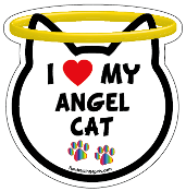 I Love My Angel Cat cat head magnet - NEW!