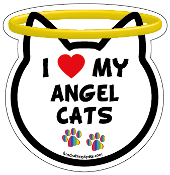 I Love My Angel Cats cat head magnet - NEW!
