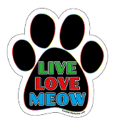 Live Love Meow paw magnet - black / multi / white *bargain bin*