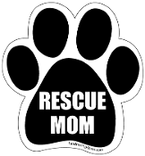 Rescue Mom Paw Print Magnet - Black *bargain bin*