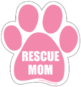 Rescue Mom Paw Print Magnet - Pink