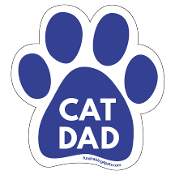 Cat Dad Paw Print Magnet - Blue * NEW!