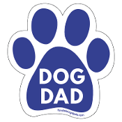 Dog Dad Paw Print Magnet - Blue *bargain bin*