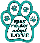 Spay Neuter Adopt Love paw magnet - NEW!
