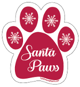 Santa Paws paw magnet (cool red) - NEW!