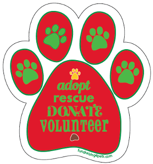 Christmas Tree Adopt Rescue Donate Volunteer Paw Magnet - NEW!