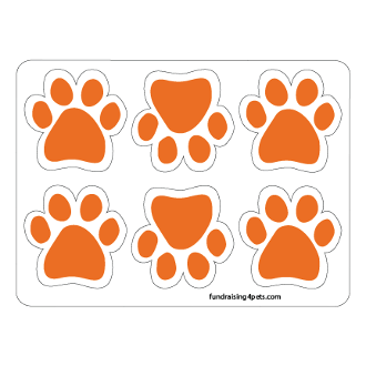 Mini Paw Magnets 6pk - Orange *NEW*