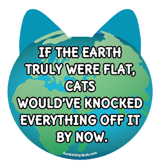 Flat Earth Cats Funny Quote cat head magnet *NEW*