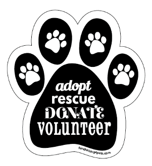 Adopt Rescue Donate Volunteer paw magnet - black *NEW*
