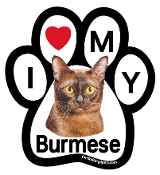 I Love My Burmese Paw Magnet - NEW!