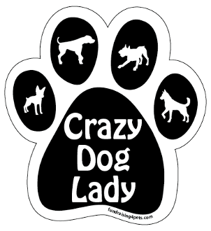 Crazy Dog Lady paw magnet - black *NEW*