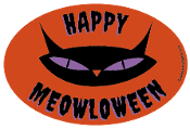 Happy Meowloween oval magnet - NEW!
