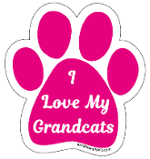 I Love My Grandcats Paw Print Magnet - hot pink *NEW*