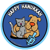 Happy Hanukkah circle magnet - NEW!