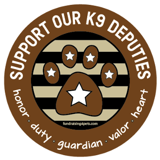 Support Our K9 Deputies circle magnet - brown *NEW*