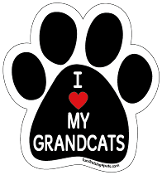 I Love My Grandcats paw magnet with red heart *NEW*
