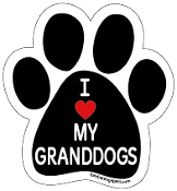 I Love My Granddogs paw magnet with red heart *NEW*