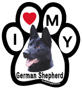 I Love My German Shepherd Paw Print Magnet (black) - NEW!