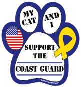 My Cat and I Support the Coast Guard paw magnet - NEW!