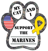 My Cat and I Support the Marines paw magnet - NEW!