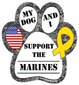 My Dog and I Support the Marines paw magnet - NEW!