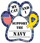 My Cat and I Support the Navy paw magnet - NEW!