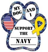 My Dog and I Support the Navy paw magnet - NEW!