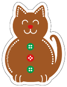 Gingerbread Cat magnet - NEW!