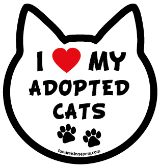 I Love My Adopted Cats cat head magnet - NEW!